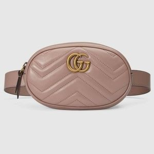 Authentic Gucci Marmont belt bag 85 taupe pink